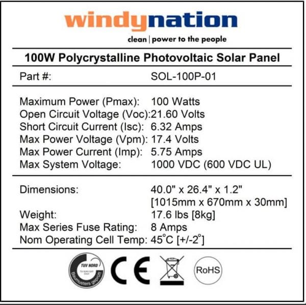 100W WN Solar Panel Specs