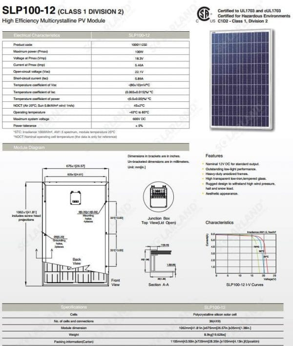 100W 12VDC Solar Panel Rated for Class 1 Division 2 Environments