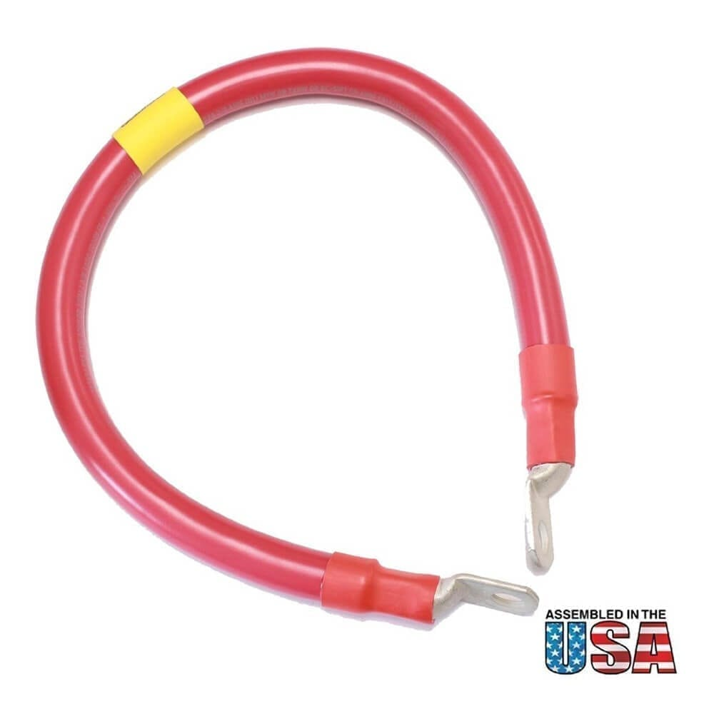 18 Quot 2 0 Awg Red Battery Interconnect Cable 3 8 Quot Lugs