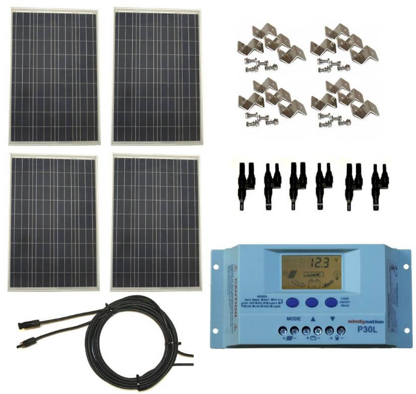 400 Watt 12V/24V Polycrystalline Solar Panel Complete Kit with LCD PWM  Solar Charge Controller Great For RV, Boat, Off Grid