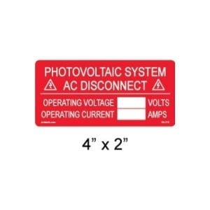 PHOTOVOLTAIC AC DISCONNECT INFO LABEL