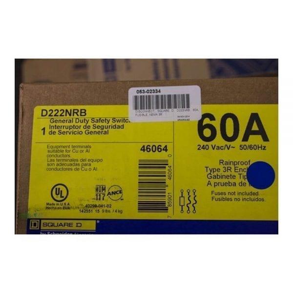 DISCONNECT SWITCH SQUARE D MODEL D222NRB 60A 240VAC 2P FUSIBLE NEMA 3R SPECS