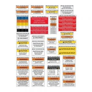 SOLAR WARNING LABELS NEC 2014 ASSORTMENT PACK